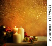 christmas candles and ornaments ... | Shutterstock . vector #684796336