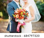 bride and groom with colorful... | Shutterstock . vector #684797320