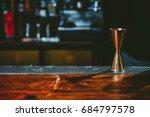 beautiful copper jigger on... | Shutterstock . vector #684797578