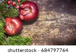 red apple on the wooden... | Shutterstock . vector #684797764