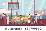 business man and woman sitting... | Shutterstock .eps vector #684799930