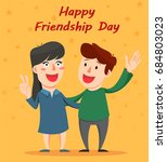 happy friendship day greeting... | Shutterstock .eps vector #684803023