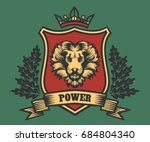 lion head coat of arms with... | Shutterstock .eps vector #684804340