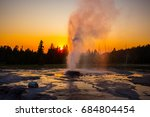 Eruption Geyser Sunset Yellowstone National - Fine Art prints