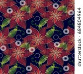 floral seamless pattern in... | Shutterstock .eps vector #684804964