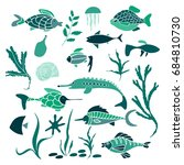 vector set of colorful sea... | Shutterstock .eps vector #684810730