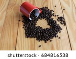 coffee beans placed on a white... | Shutterstock . vector #684816538