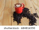 coffee beans placed on a white... | Shutterstock . vector #684816550