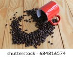 coffee beans placed on a white... | Shutterstock . vector #684816574