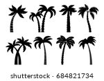 palm tree black set. drawing... | Shutterstock . vector #684821734