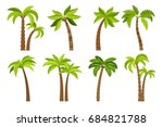 palm trees isolated on white... | Shutterstock . vector #684821788