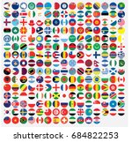 round shaped illustrated flags... | Shutterstock . vector #684822253