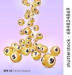 vector gold bingo balls fall... | Shutterstock .eps vector #684824869