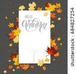 white blank with autumn maple... | Shutterstock .eps vector #684827254