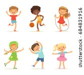 kids playing in active games.... | Shutterstock . vector #684831916