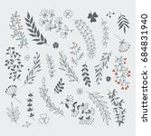 decorative floral elements for... | Shutterstock . vector #684831940