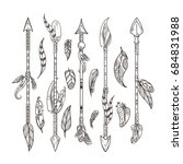 decorative arrows and feathers... | Shutterstock . vector #684831988
