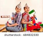 repair home women holding bank... | Shutterstock . vector #684832330