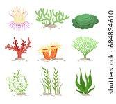 set of underwater plants.... | Shutterstock . vector #684834610