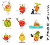 funny fruits make fitness... | Shutterstock . vector #684834703