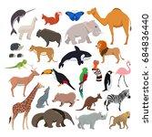 big set with wild cute animals... | Shutterstock . vector #684836440