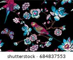 embroidery trend seamless... | Shutterstock .eps vector #684837553