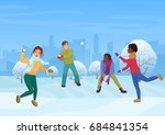 the group of friends playing... | Shutterstock .eps vector #684841354