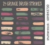 vector set of  brush strokes or ... | Shutterstock .eps vector #684843730
