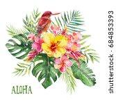 watercolor tropical floral bird ...   Shutterstock . vector #684853393