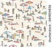 seamless pattern of tiny people ... | Shutterstock .eps vector #684854836