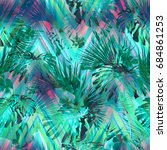 beautiful tropical floral...   Shutterstock . vector #684861253
