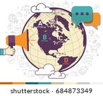 world map vector design.... | Shutterstock .eps vector #684873349