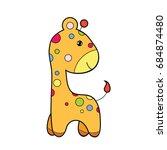 cute giraffe clipart coloring... | Shutterstock .eps vector #684874480