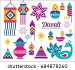 diwali hindu festival design... | Shutterstock .eps vector #684878260