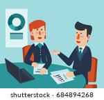 businessman and business woman... | Shutterstock .eps vector #684894268