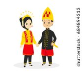 indonesia   aceh couple wearing ... | Shutterstock .eps vector #684894313