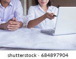 engineer working on checking... | Shutterstock . vector #684897904