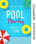 pool party invitation vector... | Shutterstock .eps vector #684899323