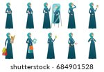 young muslim pregnant woman set.... | Shutterstock .eps vector #684901528
