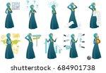 young muslim business woman set.... | Shutterstock .eps vector #684901738