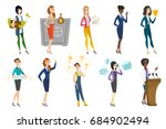 business woman  stewardess ... | Shutterstock .eps vector #684902494