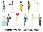 groom  bride and wedding scenes ... | Shutterstock .eps vector #684902500