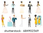 groom  bride and wedding scenes ... | Shutterstock .eps vector #684902569