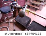 close up of microphone in... | Shutterstock . vector #684904138