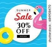 summer sale banner vector... | Shutterstock .eps vector #684908470