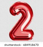 brilliant balloon font number 2 ... | Shutterstock . vector #684918670