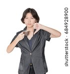 young female short hair holding ... | Shutterstock . vector #684928900