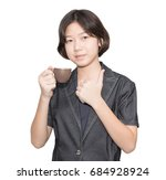young female short hair holding ... | Shutterstock . vector #684928924