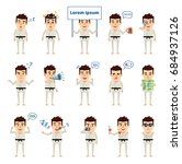 set of martial art expert in... | Shutterstock .eps vector #684937126