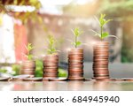 step of coins stacks with tree... | Shutterstock . vector #684945940